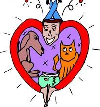 手绘充满爱心的主人和小猫小狗