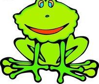 手绘蹲在地上的小青蛙