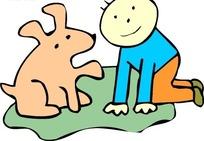 手绘和男孩玩耍的小狗狗