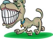 手绘露出一嘴牙齿傻笑额小狗