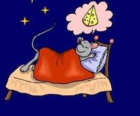 手绘躺在床上睡觉的老鼠