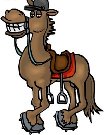 手绘笑着露出一嘴牙齿的马