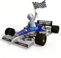 坐在F1赛车里的白色3d小人
