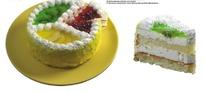 被切开的三种水果奶油蛋糕(带PSD Mask抠图遮罩)