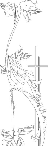 手绘线条菊花花卉纹理