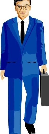 手绘插画外国商务男士