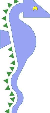 手绘抽象的海马图案