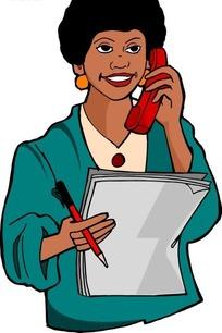 手绘打电话的黑人美女