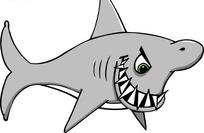 手绘锋利牙齿的鲨鱼