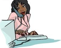 手绘接电话的黑人美女