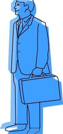手绘插画提包的男子矢量图_职业人物