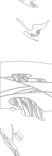 手绘线条草地树枝云彩飞鸟