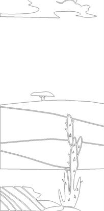 手绘线条田野