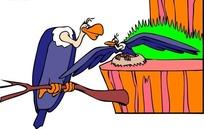 手绘学飞的小秃鹫