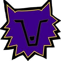 手绘紫色的狼头图案素材
