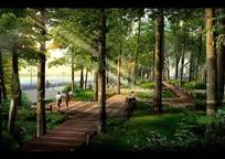 阳光下树林里稀落的行人PSD素材 公园景观效果图
