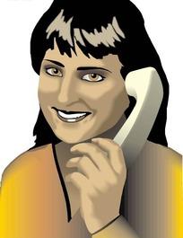 穿黄色衣服的打电话的美女矢量素材