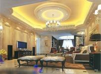富丽堂皇欧式大客厅3dmax模型