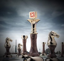国际象棋上的万科标志PSD素材
