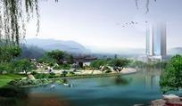 湖畔公园景色效果图