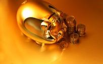 金猪存钱罐与硬币
