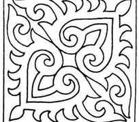 矩形对角对称单色线条画002