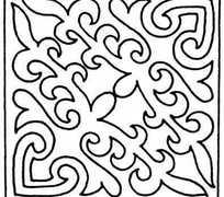 矩形对角对称单色线条画004