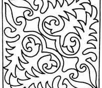 矩形对角对称单色线条画006