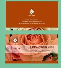 玫瑰花背景名片设计模板psd素材
