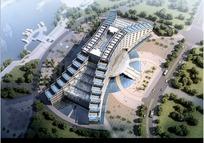 鸟瞰视图下的城市建筑效果图