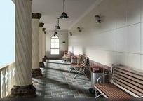 欧式风格有座椅走廊3dmax模型