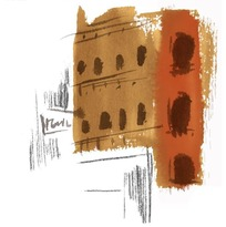 欧式建筑水粉速写画