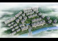 前边有条小河的住宅楼群PSD效果图