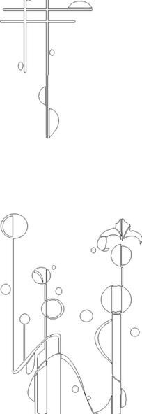 手绘黑白线描花卉雕刻素材