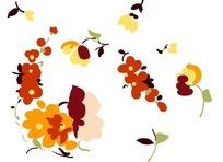 手绘红色小花朵插画设计