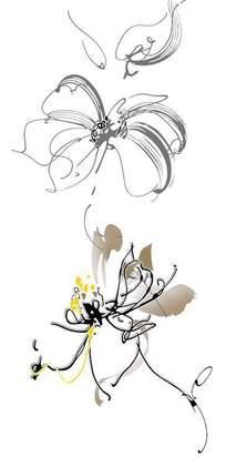 手绘花朵线稿插画设计稿件