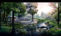 园林凉亭和小溪效果图