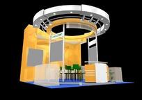 橙色背景产品展示厅效果图3D模型下载