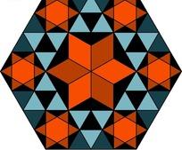 红蓝黑三色几何图形规律组合而成的图案图片