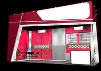 红色豪华产品展示厅效果图3D模型下载