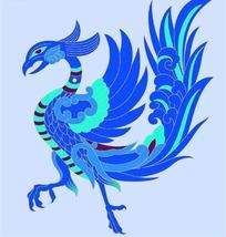 蓝色调凤凰图案