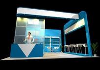蓝色豪华展厅3D模型效果图
