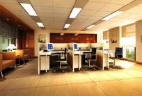 普通办公室3D室内模型图片素材
