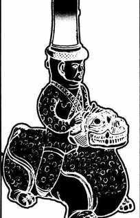 骑着神兽的戴着高帽子的人物