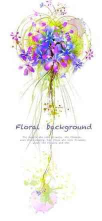 卡通花朵植物线条插画设计素材PSD免费下载图片