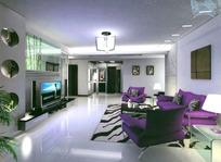 现代客厅3dsmax室内设计模型vray带