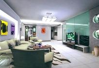 现代客厅max格式素材