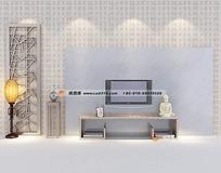 现代中式电视背景墙设计模型