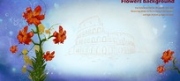 意大利角斗场建筑线稿背景上的手绘萱草花