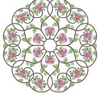 圆形构图缠枝莲图案花